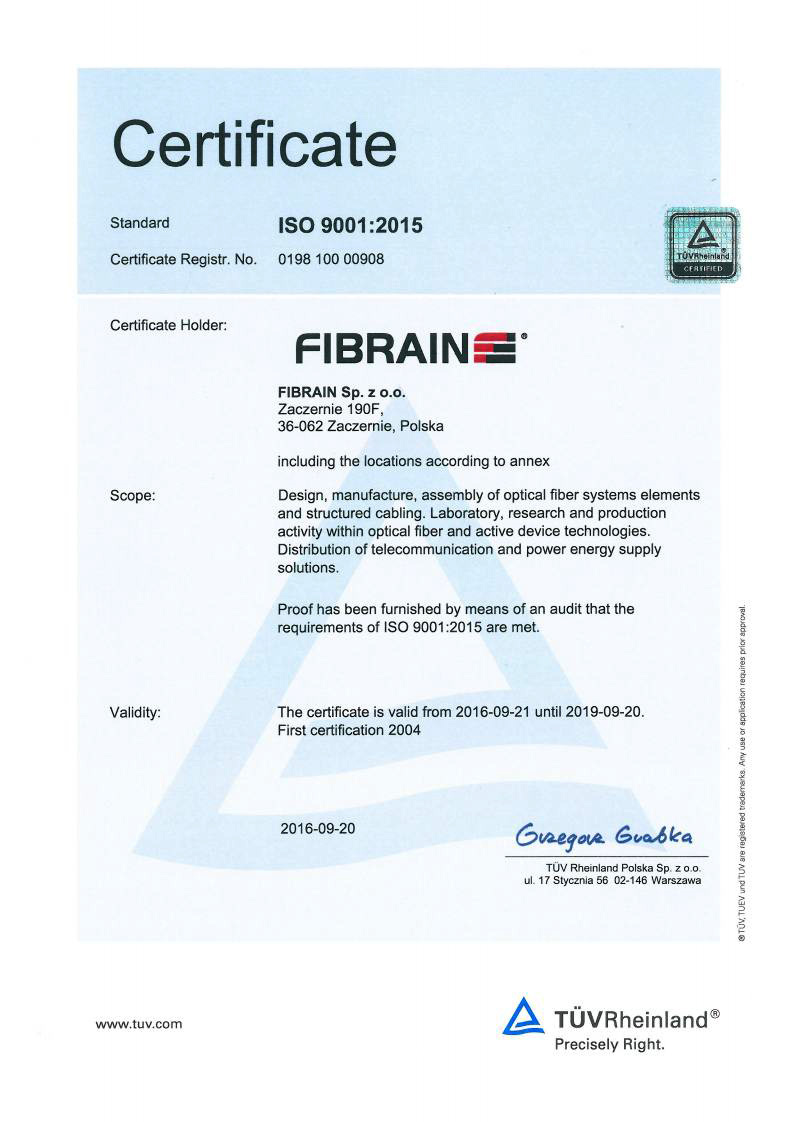 Certificates Fibrain Fiber Optic Solutions Fiber Optic Cables